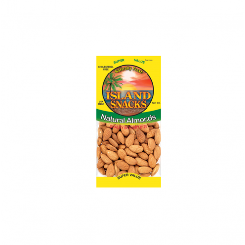 Island Snacks Natural ALmonds 4oz.